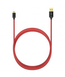 Anker Nylon Braided Tangle-Free Micro USB Cable with Gold-Plated Connectors for Android 1.8 m - Red