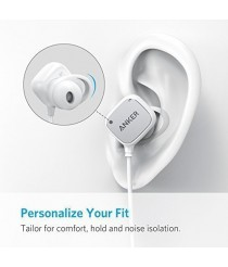 Anker Bluetooth headphone SoundBuds Tag In-Ear Bluetooth Earbuds Smart Magnetic Headphones with aptX Technology, CVC 6.0 Noise Cancellation, 6 Hour Playtime  - white