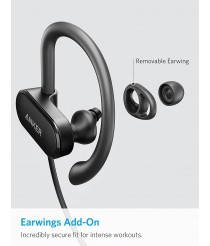 Anker Bluetooth Headphones, Anker SoundBuds Curve Bluetooth 4.1 Sports Earphones with 12.5 Hour Battery, AptX Stereo Sound, Waterproof Nano Coating, Workout Headset with Built-In Mic and Carry Pouch