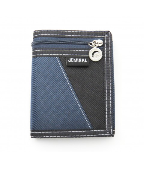 Trifold wallet canvas with zipper for coins